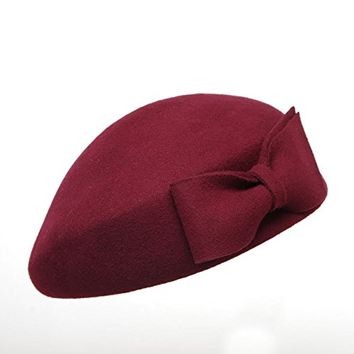 Lmaoda Sombrero de Boinas para Mujer Sombrero de Invierno Elegante Elegante  Cloche de Lana de Invierno 787190daefb