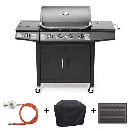 Taino® Gas barbacoa disponible en Juego con accesorios barbacoa de 4 quemadores de acero inoxidable (1 lado eléctrica de gas barbacoa TÜV Color Negro o ...