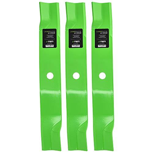8TEN LawnRAZOR Hi-Lift Blade for John Deere 60 Inch Deck 737 757 777 797 TCU15881 M128485 M131958 M163983 3 Pack (John Deere 60 Inch Mower Deck Parts)
