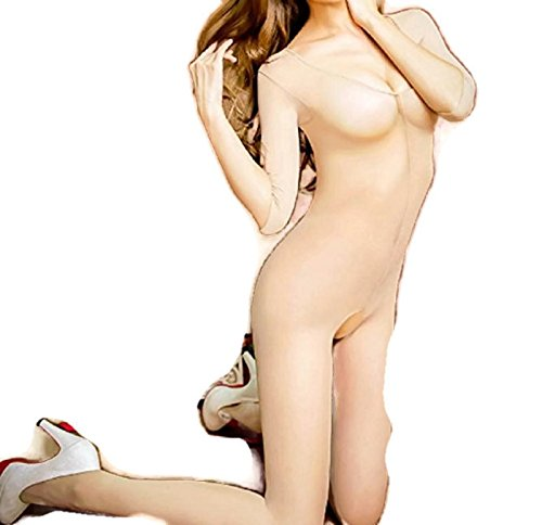 Cat Costume Fat In Guy (NEW! Sexy Sheer and Opaque Cotchless Open Crotch Half Sleeve Bodysuit Body Stocking Pantyhose Erotic Bodystocking Lingerie (Freesize,)