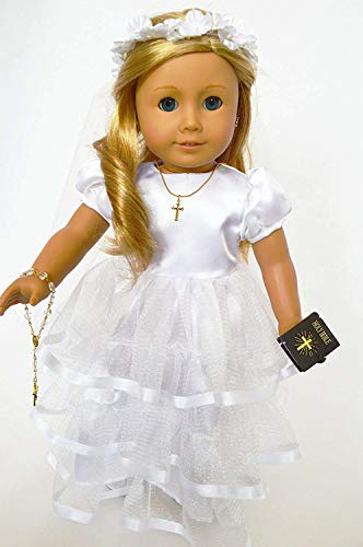 Brittany's Communion Gown with Accessories Compatible with American Girl Dolls Satin Top- 18 Inch Doll Communion Dress