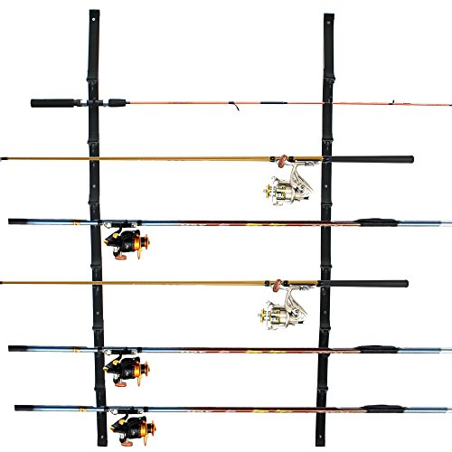 Vertical Organized 6-Rod Fishing Rod Rack Rod Storage Holder Fishing Wall Strap (set of 2)