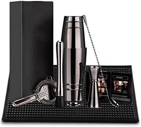 Monland üBerzogene Boston Cocktail Shaker Bar Set: 18 Unzen & 28 Unzen Boston Shaker Dose, Cocktail Sieb, Doppelter Jigger, 12 Zoll RüHr L?Ffel Schwarz