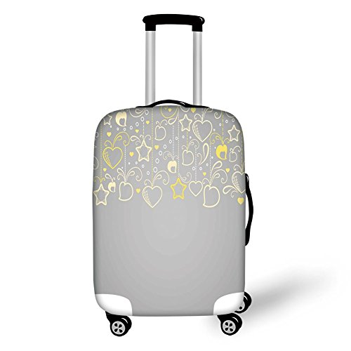 (Travel Luggage Cover Suitcase Protector,Grey and Yellow,Ethnic Christmas Themed Ornament Holiday Hearts and Flowers,Beige Yellow Pale Grey,for)
