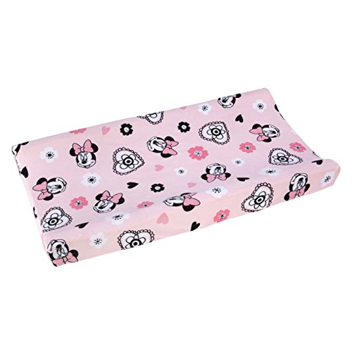 Disney Minnie Mouse Hello Gorgeous Changing Pad Cover, Pink/Black/White