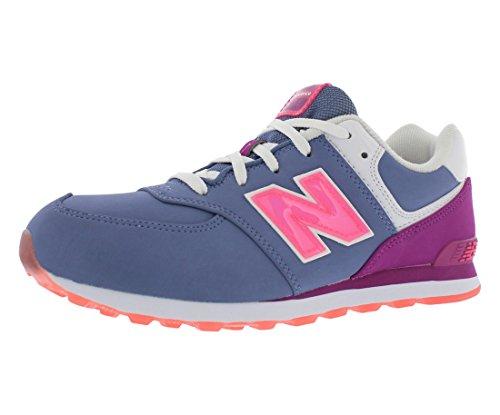 New Balance KL574 Grade Lace Glacial Running Shoe (Big Kid), Blue/Pink, 4.5 M US Big Kid ()