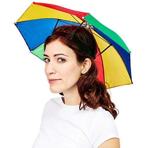 Juvale Adult Hands Free Waterproof Multi-Colored Rainbow Pride Umbrella Rain Hat, 20 Inches -