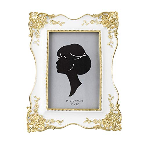 SIKOO Vintage Picture Frame 4x6 Antique Tabletop Wall Hanging Photo Frame with Glass Front for Home Decor - Vintage Frame White Picture