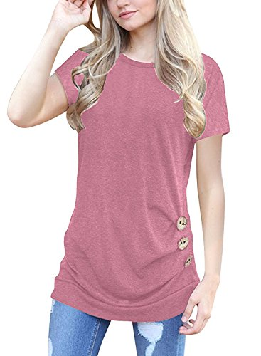 Top Tip T-shirt - MOLERANI Women's Casual Short Sleeve Round Neck Loose Tunic T Shirt Blouse Tops Pink