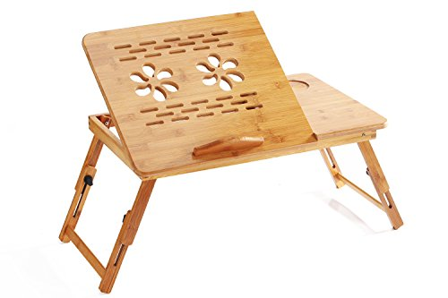 bestcatgift 100% bambú plegable ajustable computadora para computadora, para computadora portátil bandeja de desayuno Servir la cama W 'inclinable y cajón. Bambú Lapdesk Portable mesa para computadora portátil., bamboo-A