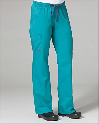 Primaflex By Maevn Women's Elastic Waist Pleated Cargo Scrub Pant X-Small Petite Scuba Blue/Ruby - Petite Pleats Trousers