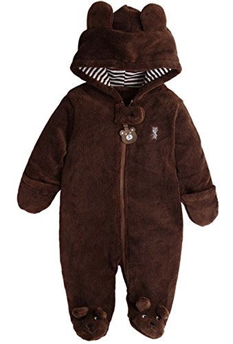 Baby Boys Boys Girls 3D Cartoon Bear Hooded Romper Warm Fleece Jumpsuit Outfits Size 3-6Months/Tag3 -