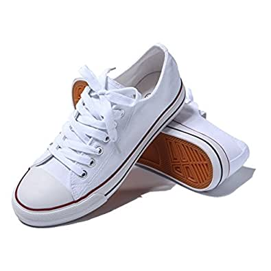 AOMAIS Womens Fashion PU Leather Sneakers Low Top Lace up Canvas Shoes White Size: 6
