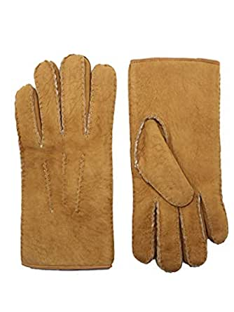 YISEVEN Men's Curly Shearling Leather Gloves Luxury New