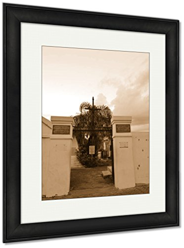 Ashley Framed Prints St Louis Catholic Cemetery New Orleans Louisiana USA, Wall Art Home Decoration, Sepia, 30x26 (frame size), Black Frame, AG6544543 by Ashley Framed Prints