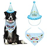 VIPITH Dog Birthday Bandana, Triangle Cotton Dog Scarf with Cute Doggie Birthday Party Hat, Great Puppy Dog Birthday Outfit, Gift and Party Decoration Set