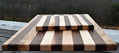 - Black Walnut and Maple Large and Small Cutting Board Set