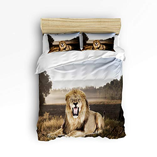 YEHO Art Gallery King Size Luxury 3 Piece Duvet Cover Sets for Boys Girls,3D Lion in The Forest Animal Pattern Adult Bedding Sets,Include 1 Comforter Cover with 2 Pillow Cases