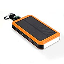 Solar Charger, X-DRAGON 15000mAh USB Solar Battery Charger with Cigarette Lighter, Bright LED Light for Cell phone,Samsung,iphone7plus/6/6s/5,Android Smartphone and More-Orange