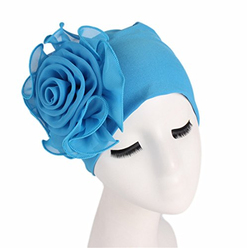 Qhome Women King Size Flower Stretchy Beanie Turban Bonnet Chemo Cap for Cancer Patients Ladies Bandanas African Head Wrap