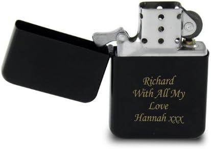 Mechero negro con grabado personalizable, regalo ideal para el Día del Padre, cumpleaños o Navidad