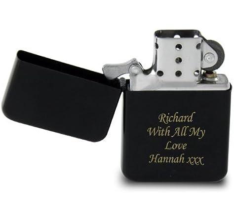 Mechero negro con grabado personalizable, regalo ideal para el Día ...
