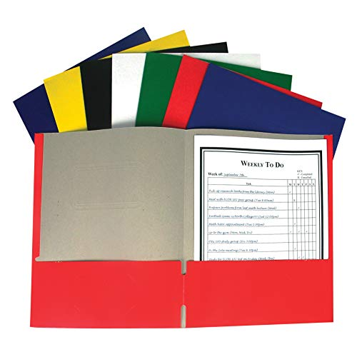 C-Line Products, Inc. CLI05300BN Recycled Two-Pocket Paper Portfolio Folder, No Prongs, Assorted Colors, Pack of 60