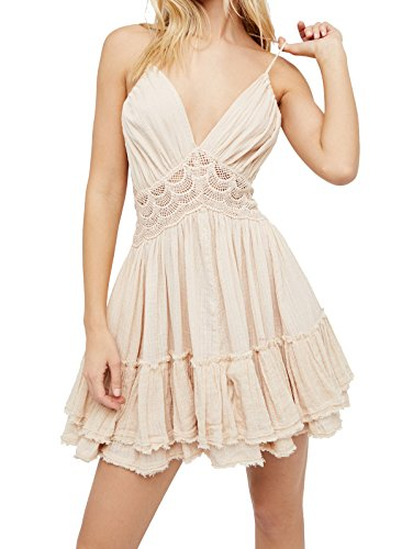 R.Vivimos Women's Summer Ruffles V Neck Backless Beach Short Dresses Medium Beige