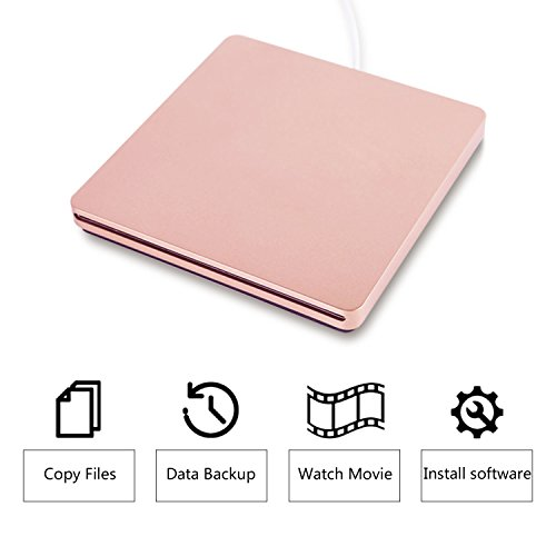 tengertang TYPE-C Super external drive,USB portable External DVD/CD Drive Burner/Reader/Rewriter for the latest Macbook/MacBook Pro/ASUS/DELL Latitude with USB-C Port (Pink) by tengertang
