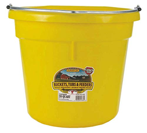 - Miller Manufacturing P20FBYELLOW Plastic Flat Back Bucket for Horses, 20-Quart