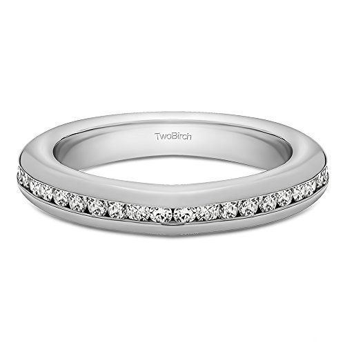 0.1Ct Twenty Stone Thin Channel Set Wedding ring in Sterling Silver Cubic Zirconia(Size 3 to 15 in 1/4 Size Intervals)