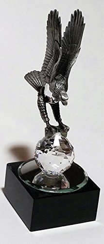 Eagle Figurine Made with Pewter and Swarovski Crystal - Eagle Miniature