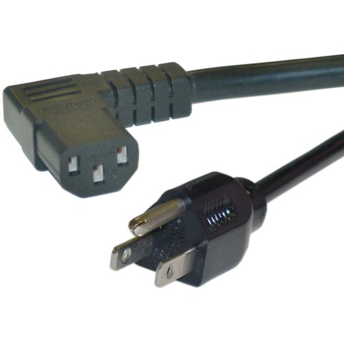 Angle Computer - eDragon Right Angle, Computer Monitor Power Cord, Black, 14 AWG, 15 Amp, 25 feet Power Cable, (ED71484)
