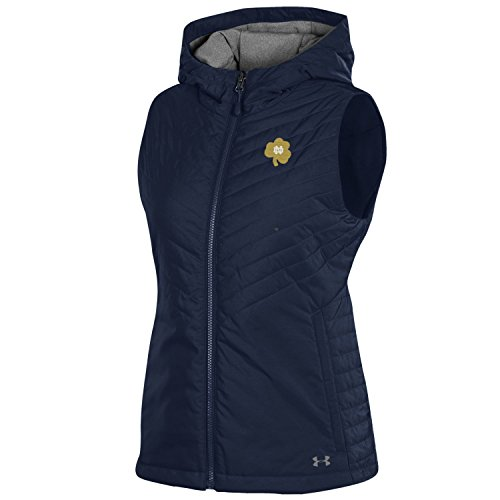 Notre Dame Irish Jacket - Under Armour NCAA Notre Dame Fighting Irish Women's Puffer Vest Sports Fan Outerwear Jackets, Large, Navy
