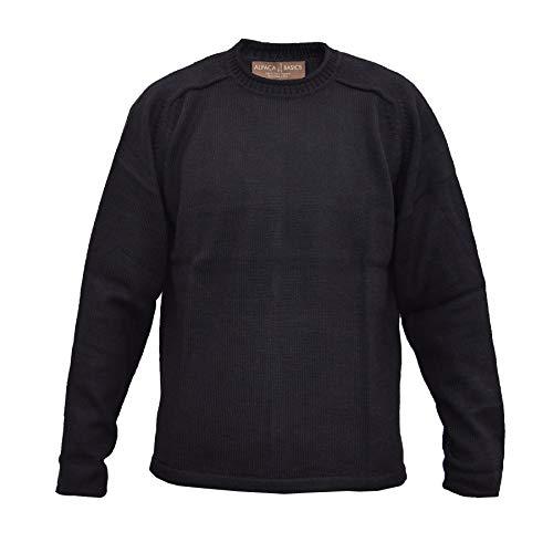 Alpaca Basics Men's Handmade 100% Alpaca Wool Roll Neck Sweater (Black, XL)