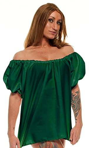 [Women's Renaissance Halloween Peasant Wench Costume Top Blouse Shirt (One Size, Green)] (Halloween Costumes Renaissance)