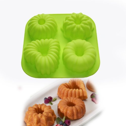Allforhome(TM) 4 Cavity Mini Bundt Cake Pans Pudding Jello Molds Muffin Cups Cupcake Bakeware Silicone Cake Baking Molds