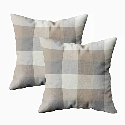 EMMTEEY Home Decor Throw Pillowcase for Sofa Cushion Cover,tan Gray and Ivory Plaid Decorative Square Accent Zippered and Double Sided Printing Pillow Case Covers 18X18Inch,Set of 2 ()