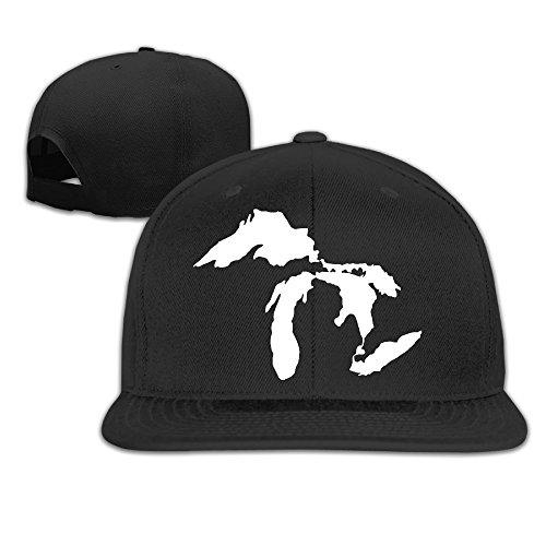 Michigan The Great Lakes State Embroidery Flat Brim Hats Black Adjustable Baseball Cap