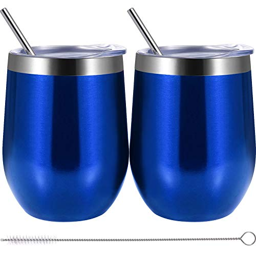 (Skylety 12 oz Double-insulated Wine Tumbler, Stainless Steel Tumbler Cup with Lids and Straws for Wine, Coffee, Drinks, Champagne, Cocktails, 2 Sets (Transparent Blue))