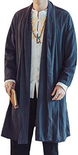 カーディガン ロング丈 メンズ アウター トレンチコート カジュアル ゆったり 無地 ロングカーディガン 綿麻 和式カーディガン ジャケット 薄手 大きいサイズ
