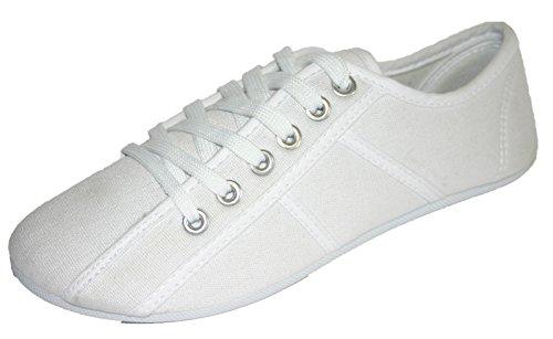 Women's Girl's Dunlop Sneaker Pumps Plimsoll Plimsole Shoes White WSr7VQ9n