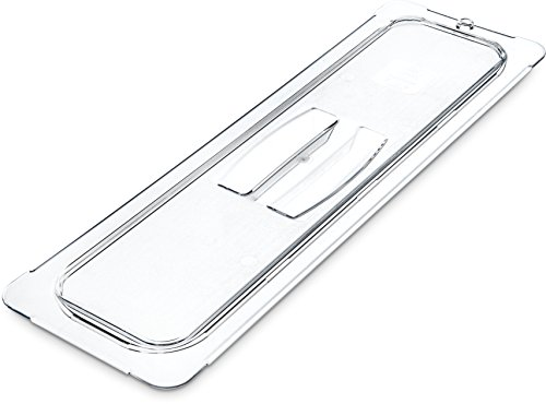 Carlisle 10250U07 Polycarbonate Universal Handled Lid, 20.81 x 6.38 x 0.88'', Clear, For TopNotch One-Half Long Size Food Pans (Case of 6) by Carlisle