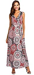 Simplefun Womens Summer Casual Boho Printed Dress Cross Wrap V Neck Sleeveless Long Sundress Maxi Dress With Pockets Coffee Xl