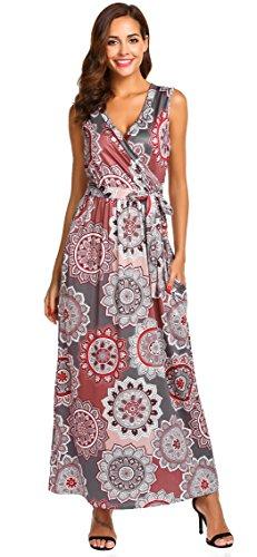 SimpleFun Womens Summer Casual Boho Printed Dress Cross Wrap V-Neck Sleeveless Long Sundress Maxi Dress with Pockets (Coffee,XL)