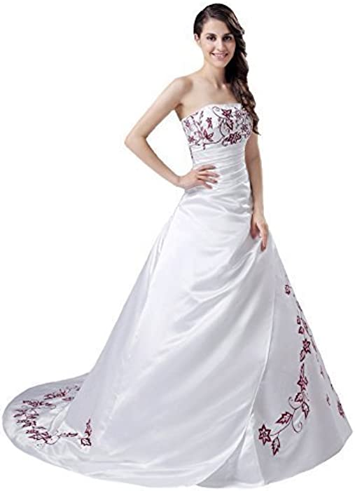 25b12fa4111 ... Snowskite Women s Strapless Satin Burgundy Embroidery Wedding Dress  Bridal Gown ...