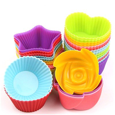 E-dance 24 Pcs Reusable Nonstick Silicone Baking Cups Cupcakes Liners Muffin Molds (Round/Heart/Rose/Star Shape, 6 pcs in Each Shape)