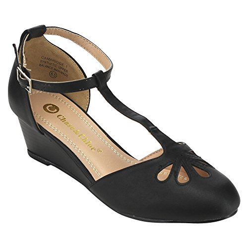 Chase & Chloe EC76 Women's Cut Out T-Strap Ankle Wraped Wedge Pumps With a Handbag Hook, Color:BLACK, Size:9 (Chloe Black Shoes)