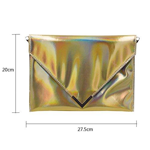 piel Meliya sintética monedero láser mujer pink hot sobre dorado Bolsa cadena Mujer bolso hombro de holográfica embrague rrR0q78