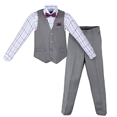Vittorino Boys 4 Piece Suit Set with Vest Shirt Tie Pants and Hankerchief, Gray - Purple Plaid, 10